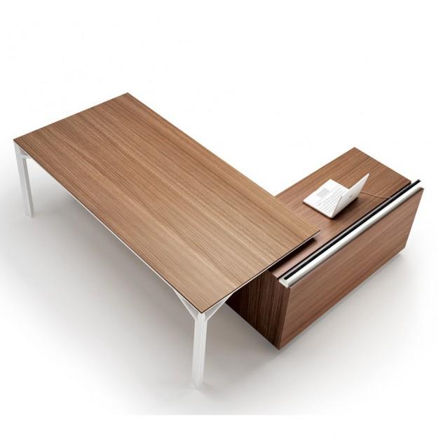 Bureau avec desserte 180cm-240cm en aluminium Eight Modele 88