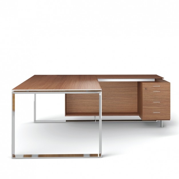 Bureau avec retour 180cm-200cm en aluminium Eight Modele 74