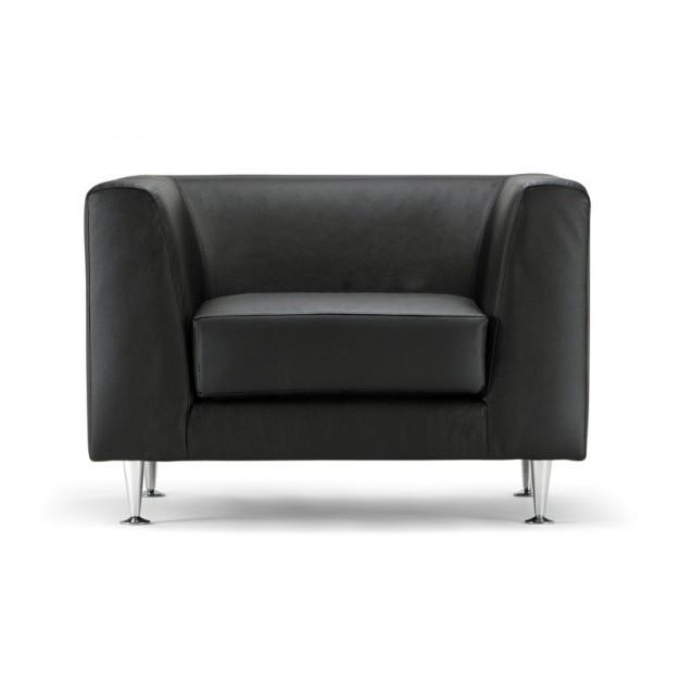 Fauteuil d'accueil en cuir noir Malaga-1
