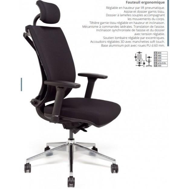 Fauteuil ergonomique synchrone ALEXIA-B