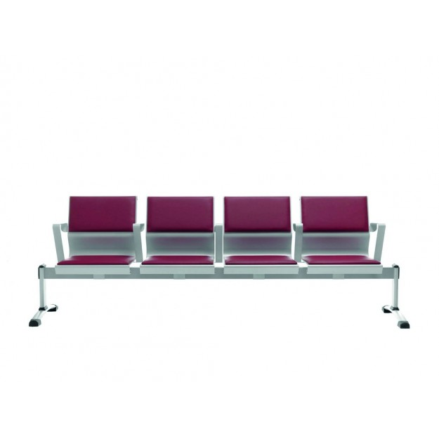 Chaise sur poutre design métal Cluny assise et dossiers rembourrés